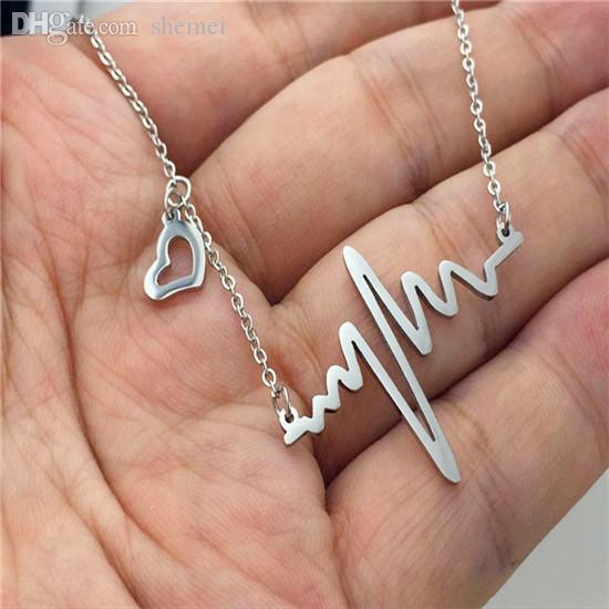 Atacado-Aço Inoxidável Dia dos Namorados Heart Beat Pingente Heartbeat Statement Colar Cadeia Colar