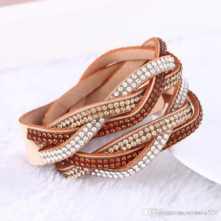 New Rhinestone Bling Crystal Wrap Bracelets Double Wrap Leather Bracelet Full Crystal Paved Wristband with good price