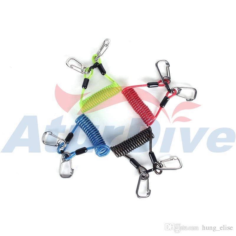 Scuba Diving clips Dive Snappy Coil Spring Lanyard With Clips and Quick Release Buckle for hookup Camera torch
