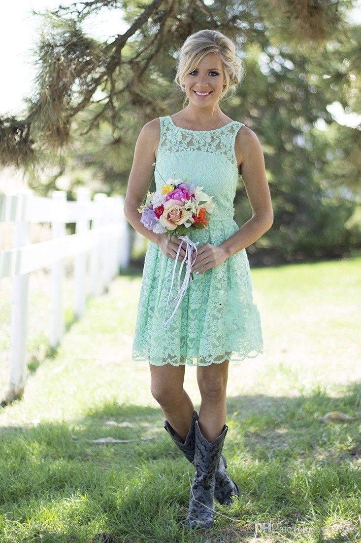 Bateau Lace Júnior Dama De Honra Vestidos Barato Menta Verde Azul Curto Partido Vestidos De Verão Primavera Para Casamento Doméstica Vestidos Convertible