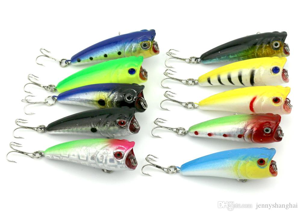 HENGJIA Isca Popper artificielle 20 pcs / lot 6 CM 7 G 10 couleurs Top pêche en plastique de l'eau appâts durs Popper leurres de pêche
