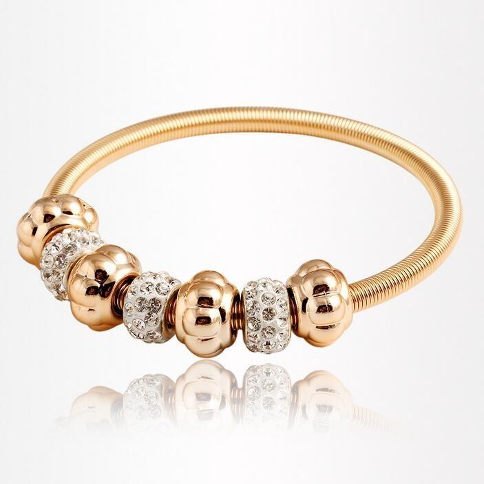Erstklassig Goldarmbänder der heißen Verkaufs Art und Weise CZ-Diamant Rhinestone-Kristall Elastic Armreif Armbänder für Frauen Mädchen Schmuck Großhandel 0368W
