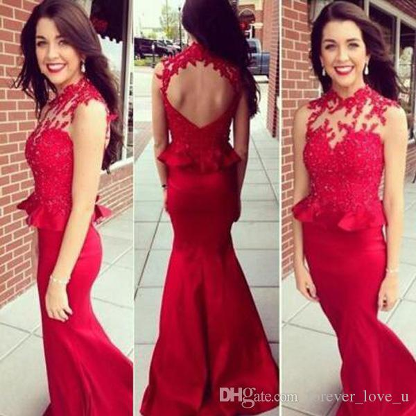 Sexy Mermaid Prom Dresses Fitted Long Formal Evening Party Gowns Sheer High Neck Sleeveless Open Back Place Applique Wear with Peplum