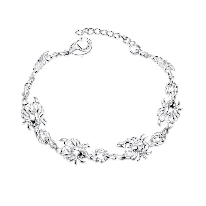 Top Qualité 925 Sterling Argent Plaqué Charme Scorpion Bracelet Mode Chaîne Animale Lien Bijoux Pour Dames Parfait Cadeau Freeshipping