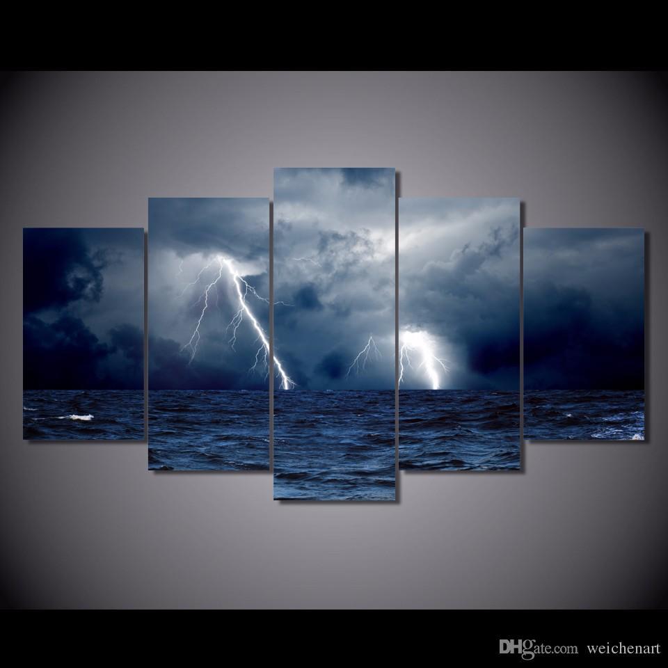 5 Paneli HD Baskılı Bulutlar Dalgalar Deniz Fırtına Okyanus Gece Tuval Odası Dekor Poster Resim Tuval Siyah Sanat Duvar Boyama Baskı Baskı Boyama