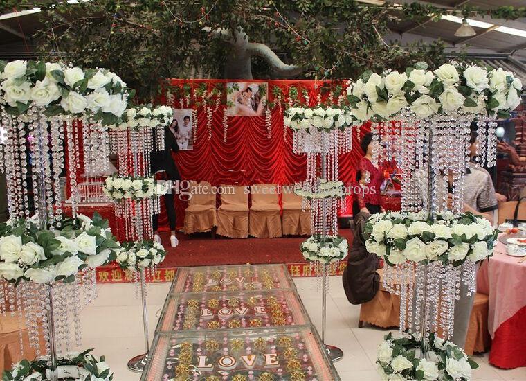 120 cm Tall dönme dolap kristal boncuk düğün dekorasyon centerpieces düğün sahne 6 adet / grup Express ücretsiz kargo