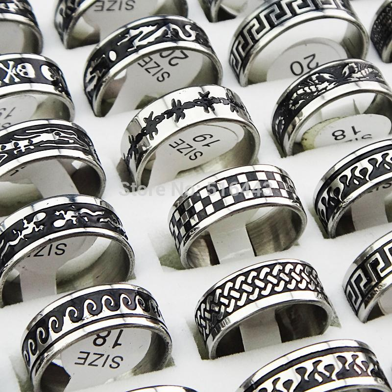 Hot Selling 50pcs Stainless steel Silver with Black Enamel Rings for Women Men's Wholesale Fashion Jewelry Free Shipping A064