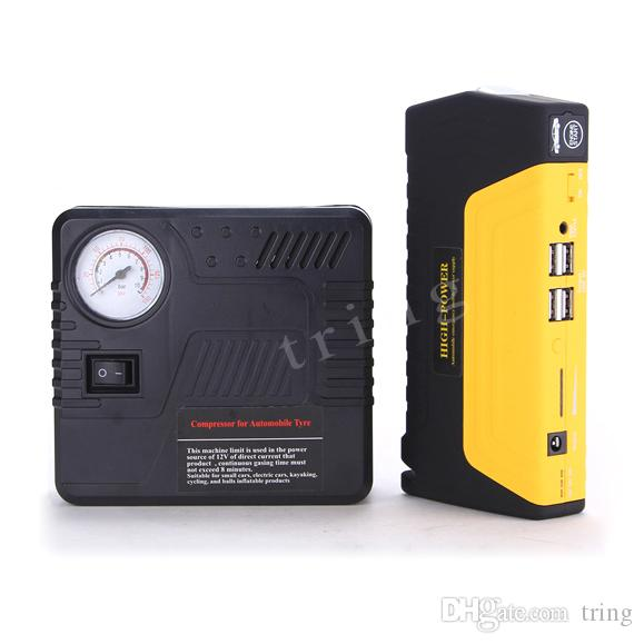 High Quality Multi-Function Car Jump Starter Gasoline&Diesel version Car Battery Charger 4USB Out put Mobile Power Bank With Air Compressor