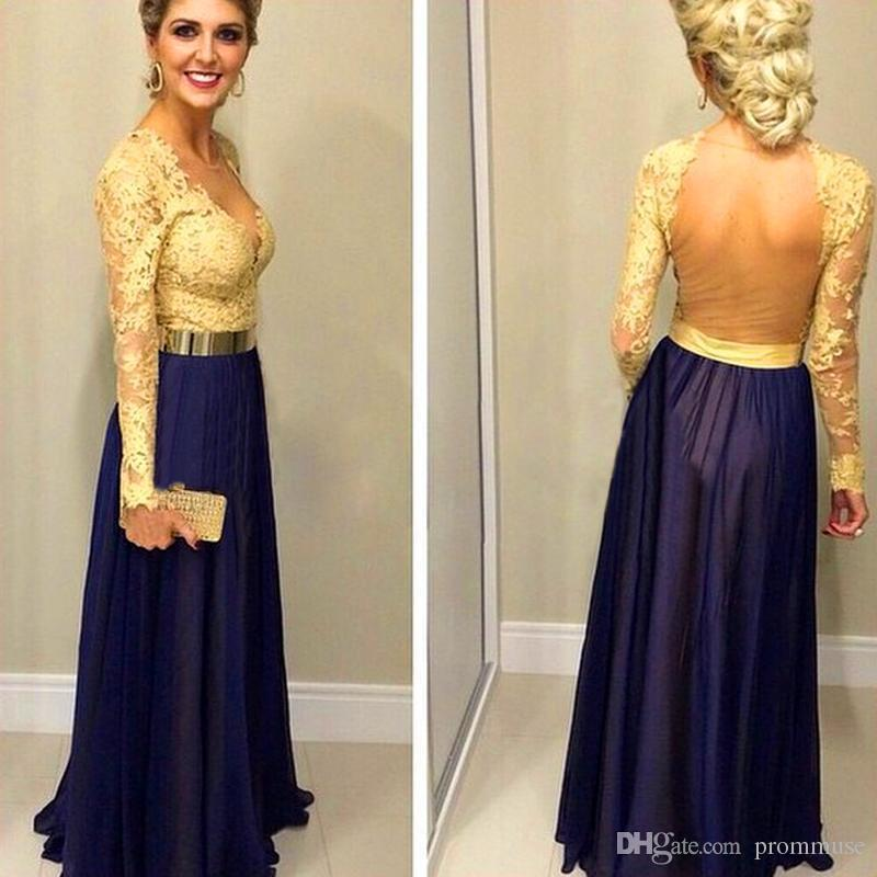 2017 Gold And Navy Blue Prom Dresses Long Sleeves Unique A Line ...