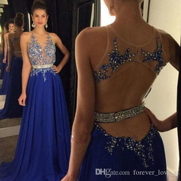 Sexy Illusion Mieder Royal Blue Chiffon Prom Kleider Jewel Neck ärmellose Kristalle Perlen Spitze Appliques Backless Design Abend Party Kleid
