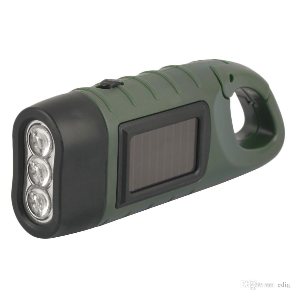DT-309A Hand Held Crank Dynamo Solar Power Rechargeable LED Flashlight 3-LED Potable Environmental Outdoor Camping Adventures Light