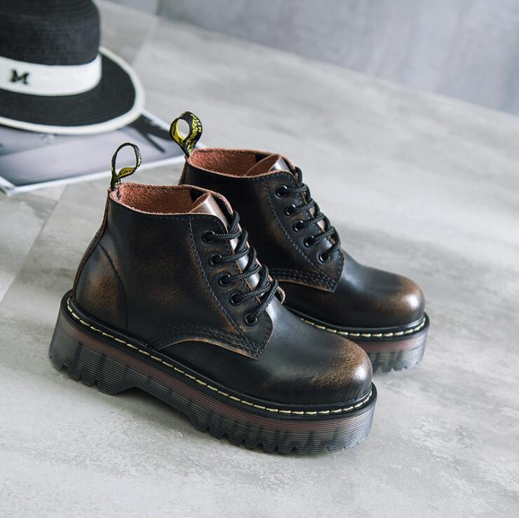 Plus Size 40 Cow Muscle Thick Bottom Genuine Leather Boots Women British Style Lace Up Shoes For Girls Black Motorcycle Ankle Boots