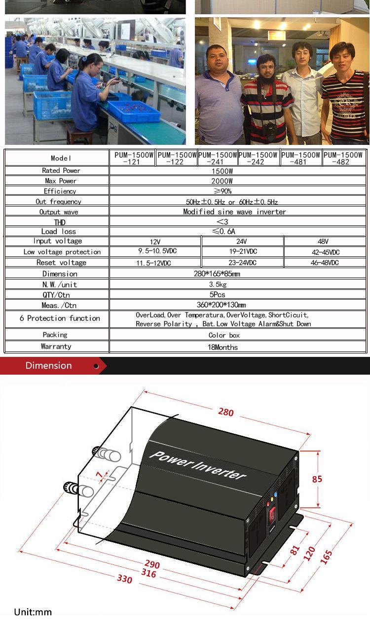 1500w Modified Sine Wave Inverter Car Power Inverter Home Inverter ...
