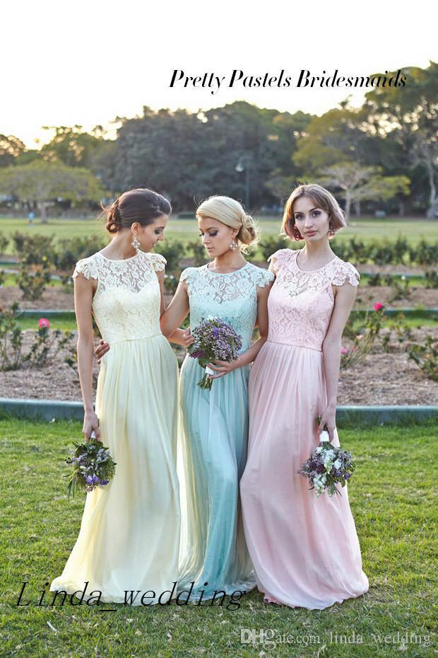 Großhandel Freies Verschiffen Kleidet Neue Tadellose Grüne Gelbe  Rosafarbene Brautjunfer Hübsches Pastell Chiffon Spitze Trauzeugin Kleid