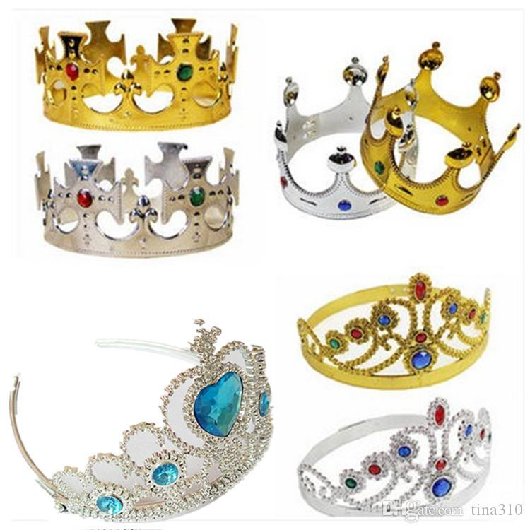 Roi De Luxe Et La Couronne De La Reine Des Chapeaux Cosplay Holloween Party Anniversaire Princesse Des Chapeaux Or Argent Couronne IC649