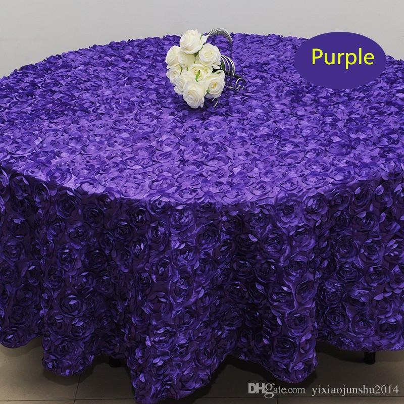Wholesale White 2.4 M Wedding Round Table Cloth Overlays 3D Rose Flower  Tablecloths Wedding Decoration Supplier 7 Colors Free Shipping