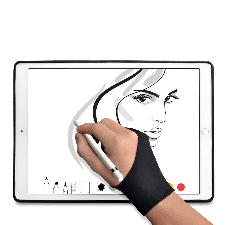 TFY 아티스트 드로잉 방오 장갑 - 그래픽 태블릿 및 태블릿 모니터 용 2 개의 손가락으로 스케치 페인팅 - 1 조각