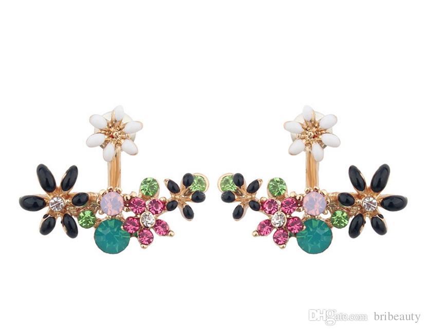 Orecchini margherita fiore fiore anteriore e posteriore margherita multicolor orecchini in metallo temperamento dolce margherita fiori orecchini di alta qualità