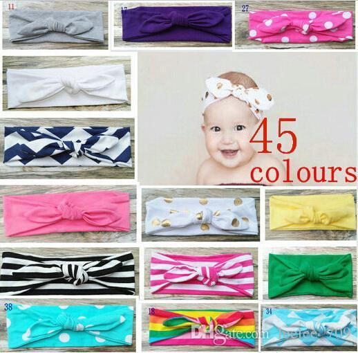 20PCS Pamuk kız bebek Turban Kafa Kafa Wrap Twisted Knot Yumuşak şerit Hairband chevron Bantlar altın Dalga nokta Headwrap çevirin
