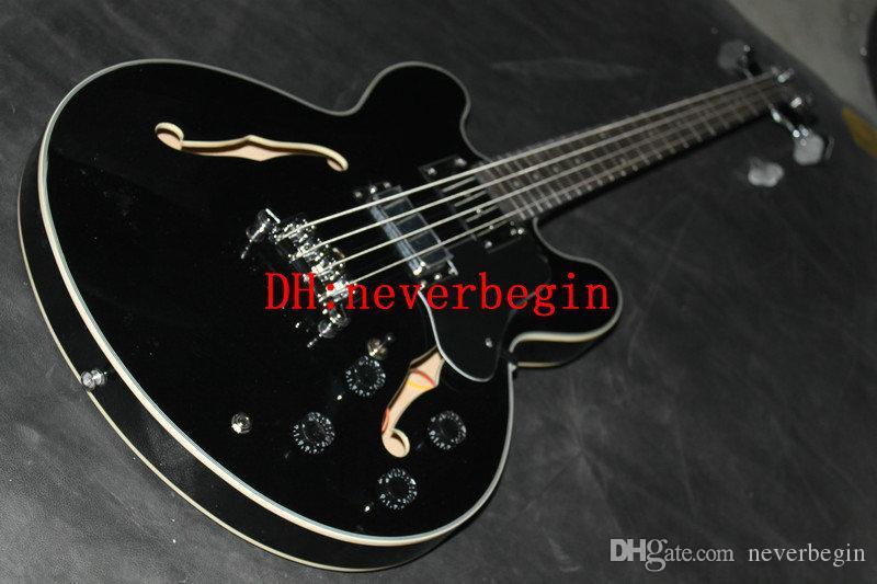 Custom Black hollow bass Electric Bass Guitar strings BASS Guitars China guitar Free shipping