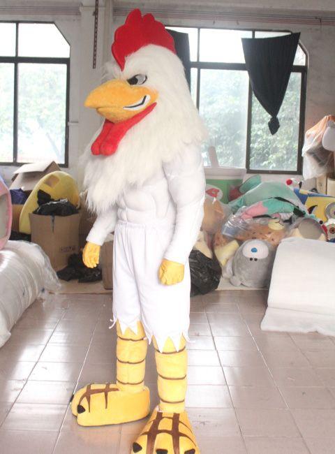 SX0723 100% de vraies photos du costume de mascotte de coq blanc avec un corps musculaire fort pour adulte à porter à vendre