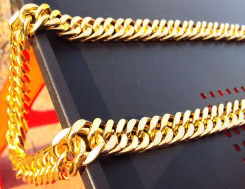 망 14K 옐로우 골드 채워진 도금 두꺼운 마이애미 쿠바 링크 목걸이 체인 무거운