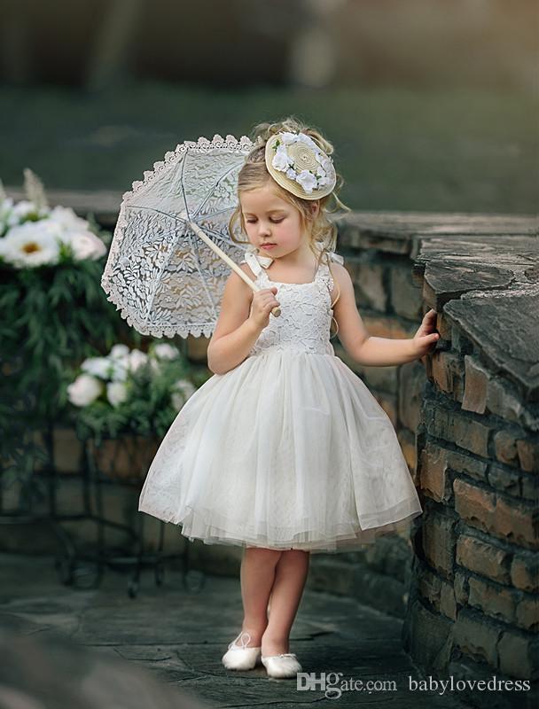 Abiti da comunione bianchi puri spalline in pizzo top abiti da festa al ginocchio tulle flower girls dresses per matrimoni