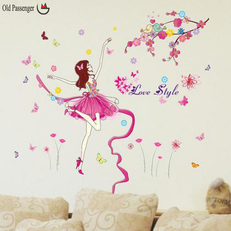 Old Passenger_ Butterfly Flower Fairy Wall Stickers For Kids Room Wall  Decoration Bedroom Living Room Children Girls Room Decal Wall Decals For  Kids ...