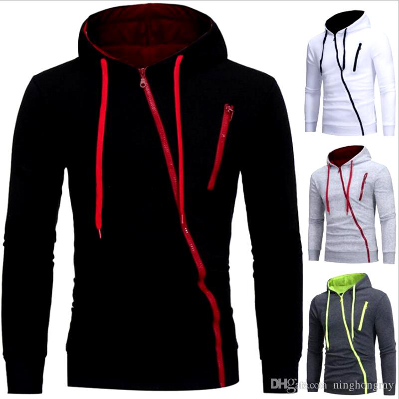 NEW Leisure Men's Hoodie Sweatshirts Rabbit Hair Collar Oblique Zipper plus size Men's Jacket men's Coats men outwear M-XXXL Free Shipping