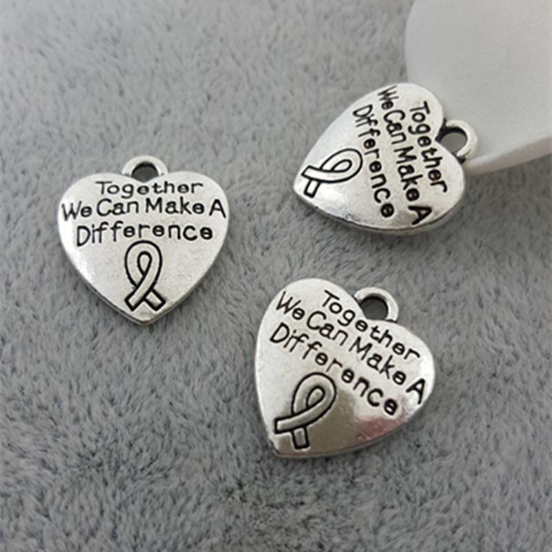 Pfirsich Herz Band Breast Cancer Awareness Ribbon Anhänger Charm Bead Fit Schlangenkette Armbänder europäischen Charme DIY Brief Anhänger