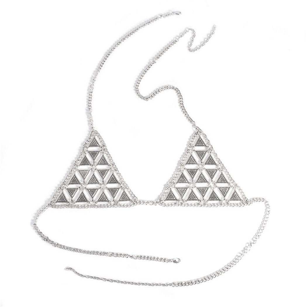 سلسلة بيكيني مثير أزياء المرأة الغجر البوهيمي الفضة مطلي الذهبي سلسلة هندسة المثلث الجسم مجوهرات الجسم