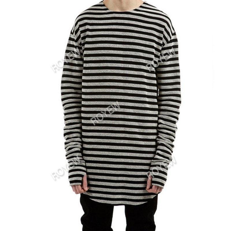 Мужчины футболки tyga хип-хоп Хабар полосатый с длинным рукавом футболки расширенный kanye west мужчины негабаритных футболка homme Майка мужчины