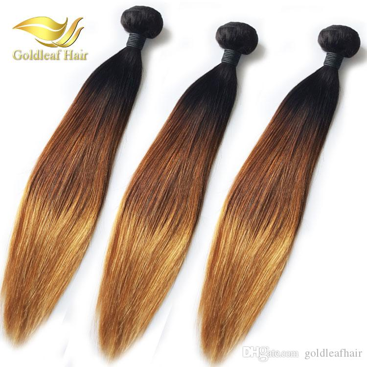 10-26inch Brazilian Human Ombr hair 1B 4 27 Straight 3Pcs Ombre Human Hair Weaving Ombre Hair Extensions