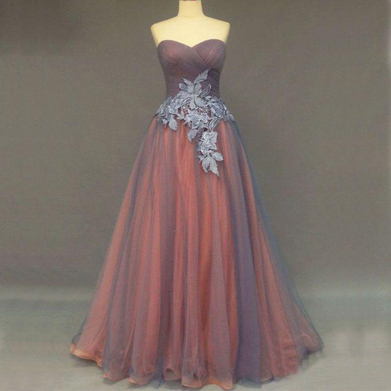 Robes de bal Vintage robes de soirée longue formelle orange gris une ligne ruché appliques de dentelle de tulle tenue de soirée de qualité supérieure