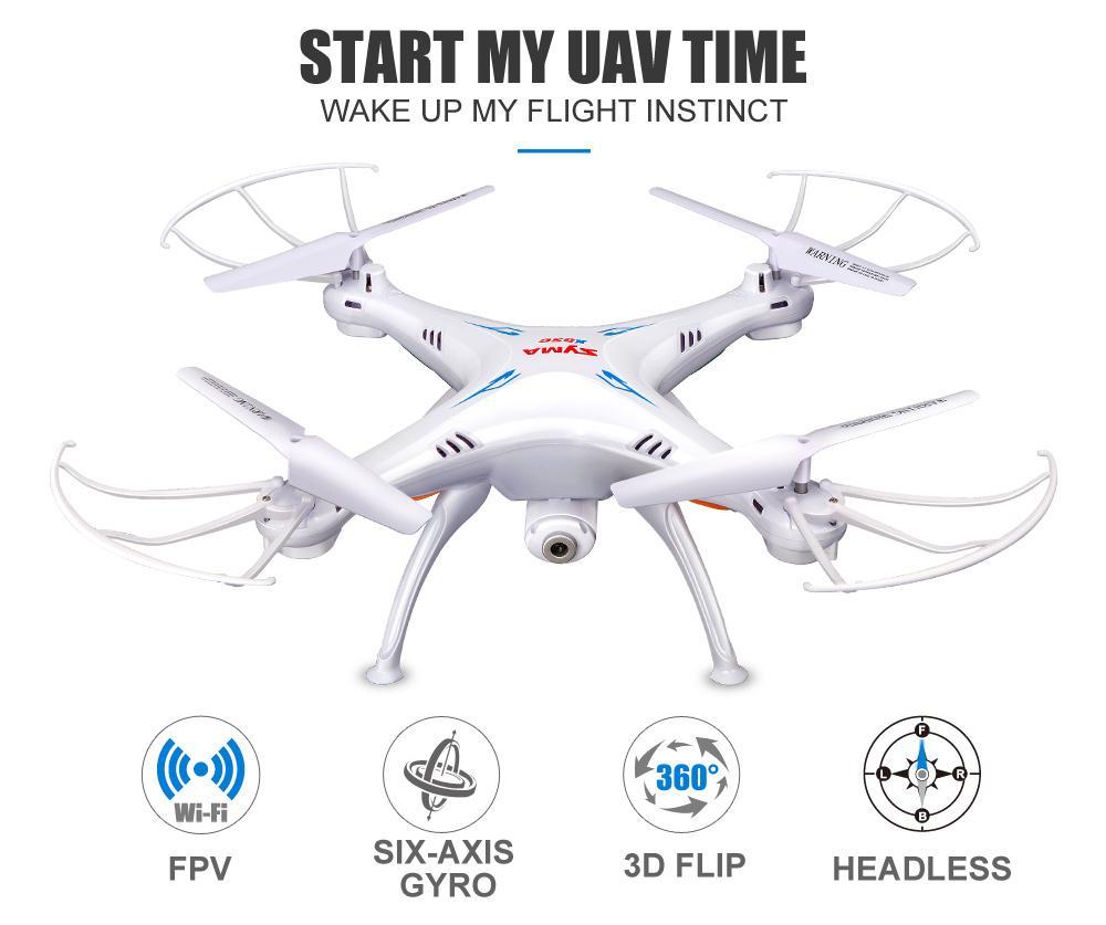Helicópteros RC 2020 Atacado SYMA X5SW FPV Drone com WiFi Camera Real-Time Vídeo RC Quadrotor (x5C Upgrade) HD Camera Dron 2.4G 6-Axis