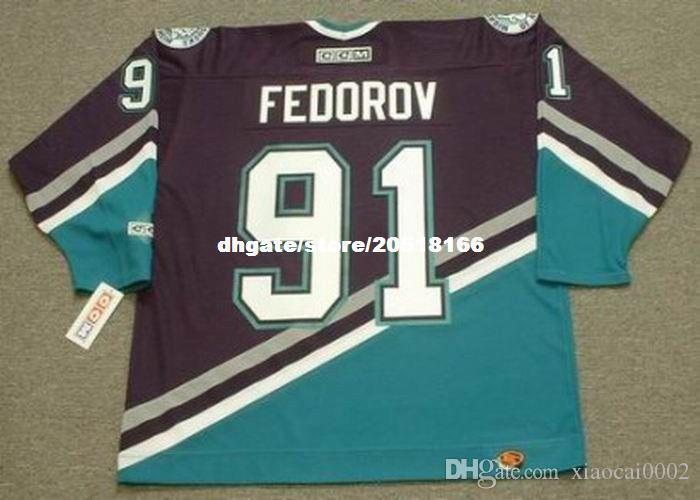 Custom Mens SERGEI FEDOROV Anaheim Mighty Ducks 2005 CCM Away Barato Retro Hockey Jersey