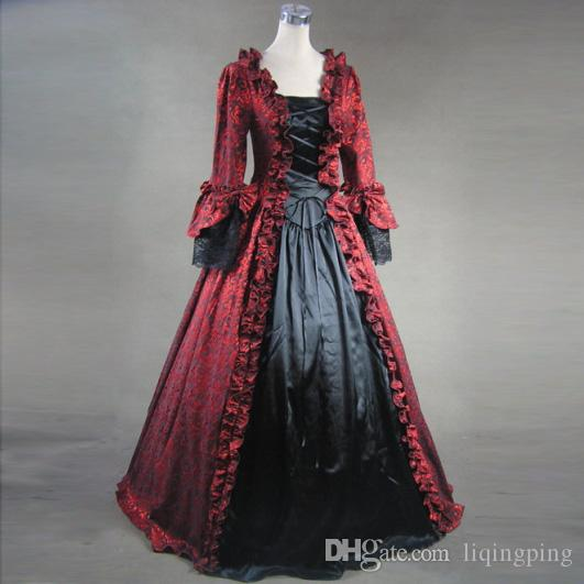 Black and Red Victorian Dress