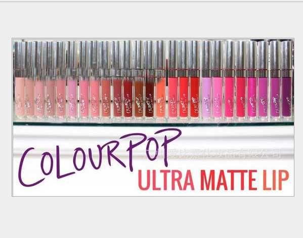 120pcs/lot Latest Arrival 28 color Available Colour Pop Ultra Matte velvety Liquid Lipstick Matte liquid Lipgloss Waterproof Lip Gloss