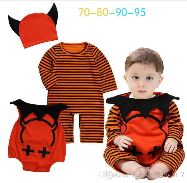 Coveralls Halloween 2020 2020 Girls Halloween Outfit Baby Pumpkin Romper Autumn Long Sleeve