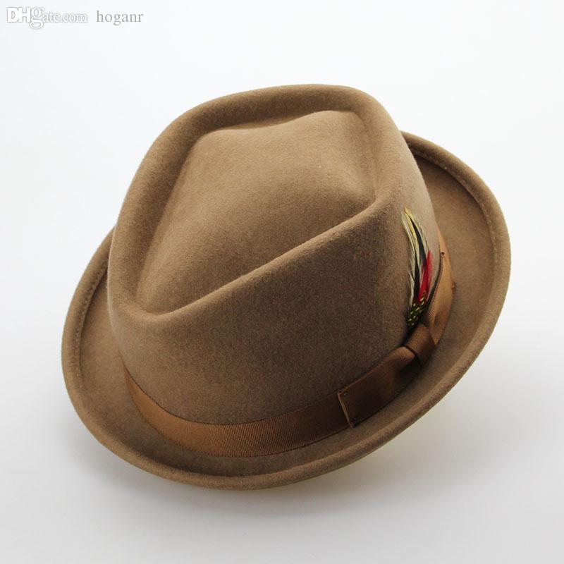 Wholesale-Vintage Australian Wool Felt Jazz Men Hat Male Floppy Feather Fedora Bowler Hat Fashion Flat Dome S M Large Size Woolen Hat