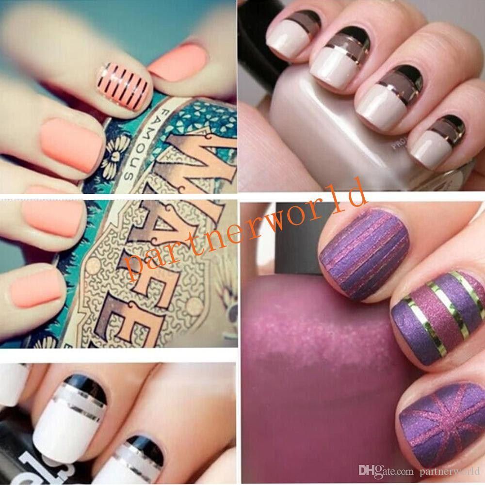 Nail Art Decoration Stickers Decalcomanie per unghie Fashion 10 Metallic Yarn Line Mix Colore Rolls Striping Tape 2000sets / lot