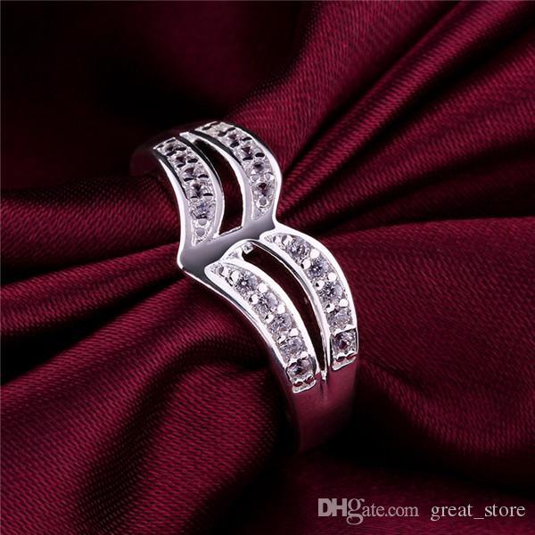 925 Silber Ring mit seitlichen Steinen Multi-Line Herzförmige freie Schiff GSSR422 Fabrik Direct Sale Mode Sterling Silber Fingerringe