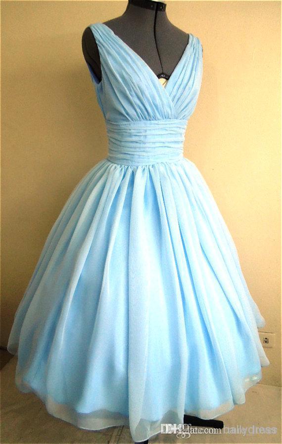 밝은 하늘색과 50 년대 스타일의 드레스 실크 쉬폰 오버레이 모든 크기의 아첨 V 넥 83 실제 사진 50 년대 스타일의 드레스 라이트 스카이 블루 S