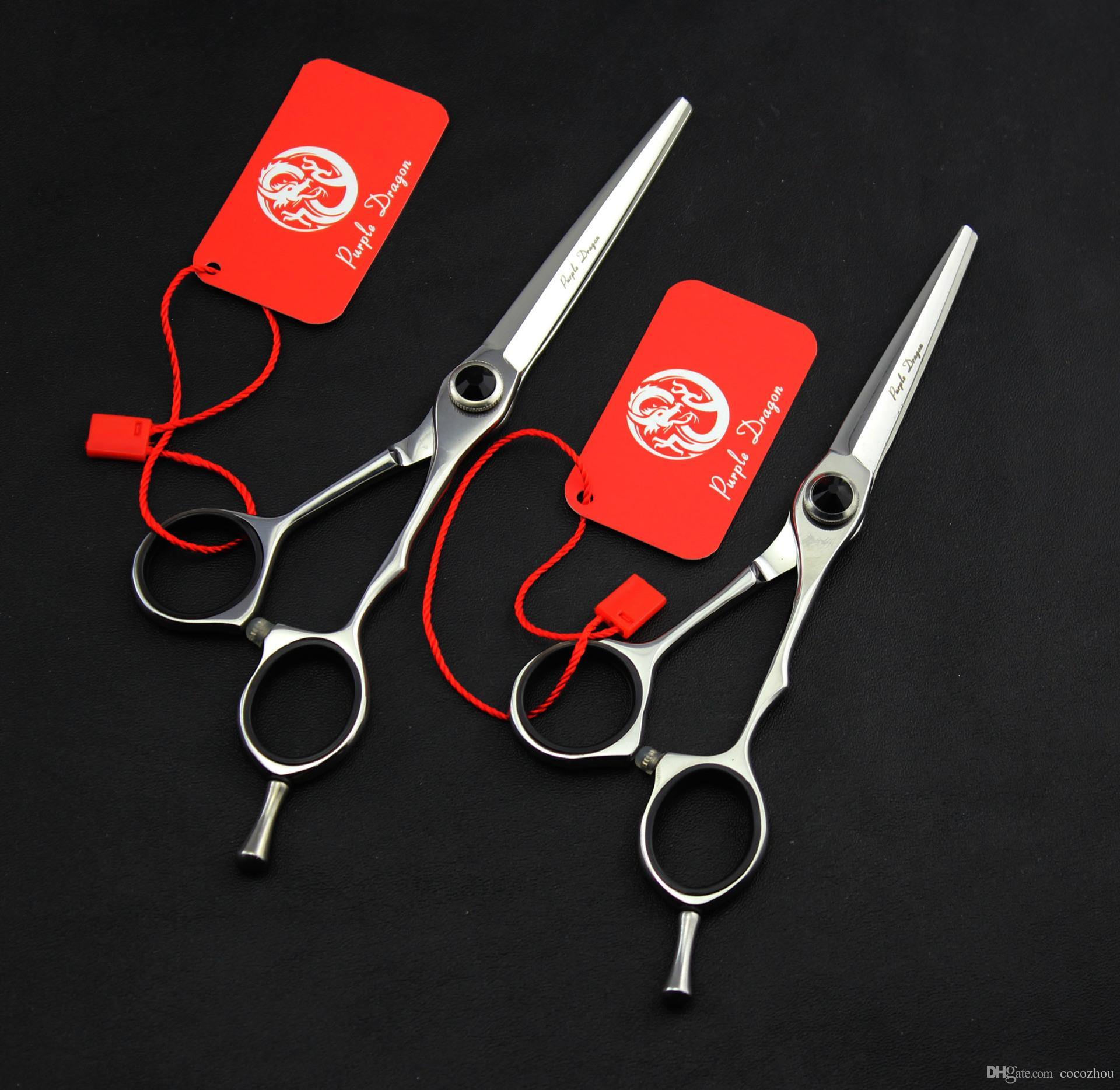 542 # 5.5 / 6 '' Marke Lila Dragon TOP GRADE Friseurscheren JP 440C 62HRC Home Salon Friseurschere Schere Haarscheren