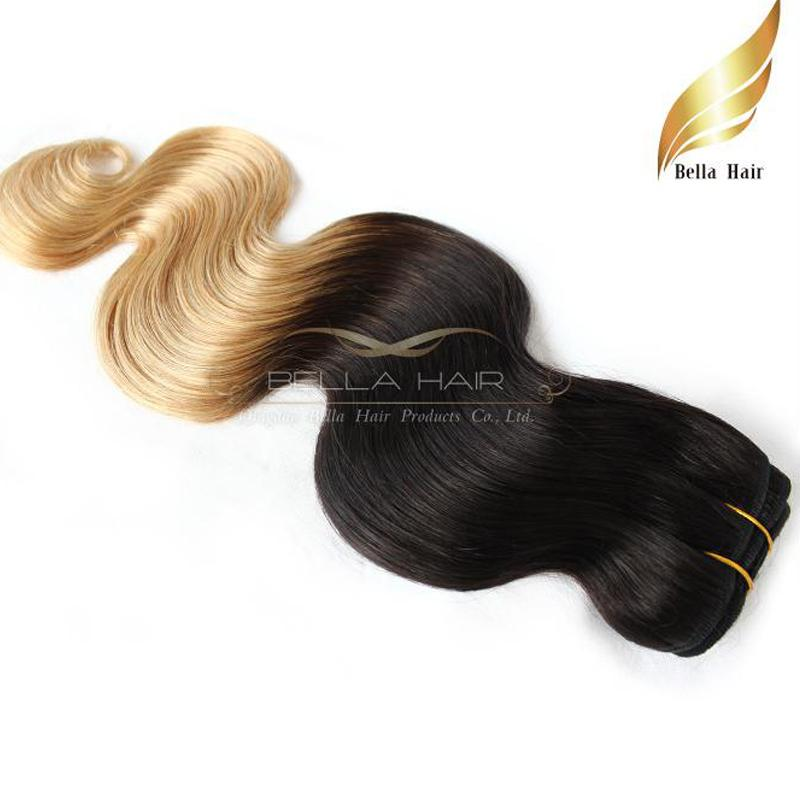 """Indian Hair Weaves 100g/PC Hair Extensions Weft Ombre Human Hair Dip Dye Two Tone #T1B/#27 Color 14""""-26""""Body Wave Bellahair 7A"""