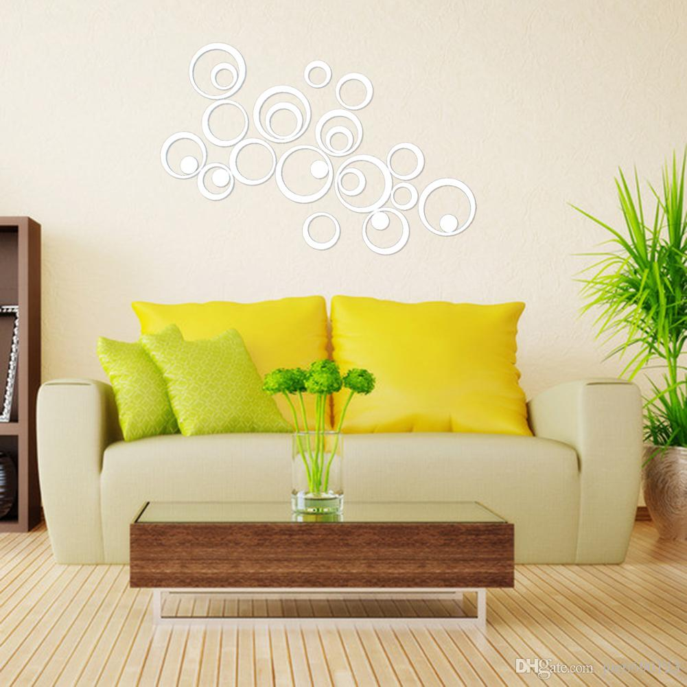 Diy Artistic Round Wall Stickers Silver 3d Acrylic Mirror Surface ...