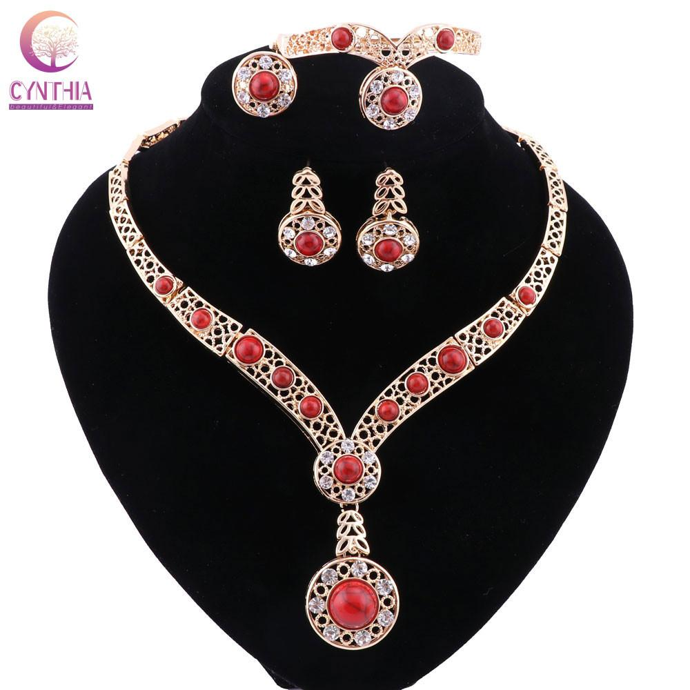 3 colors Statement necklace with earrings bracelet Jewelry sets Trendy Boho crystal women necklace for party wedding new arrival