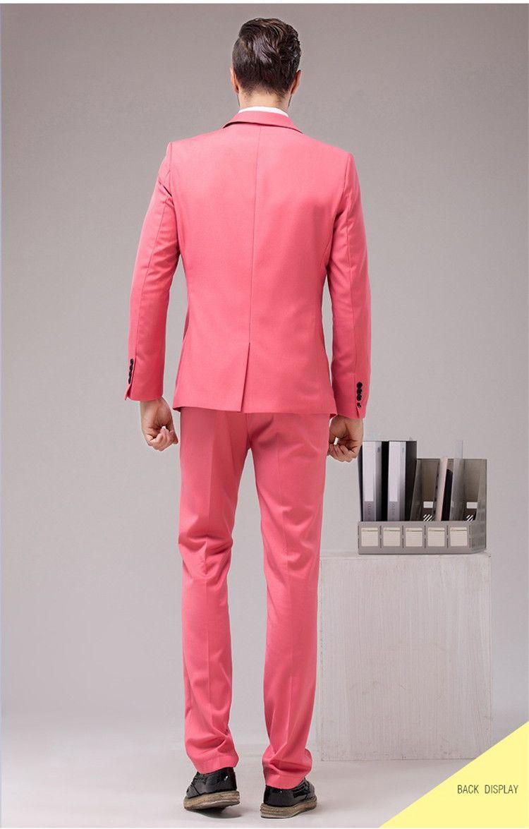 Atacado-Costume Homme custom made homens terno smoking smoking smoking mens terno com calças homens tux roupas de marca neon rosa ternos de casamento