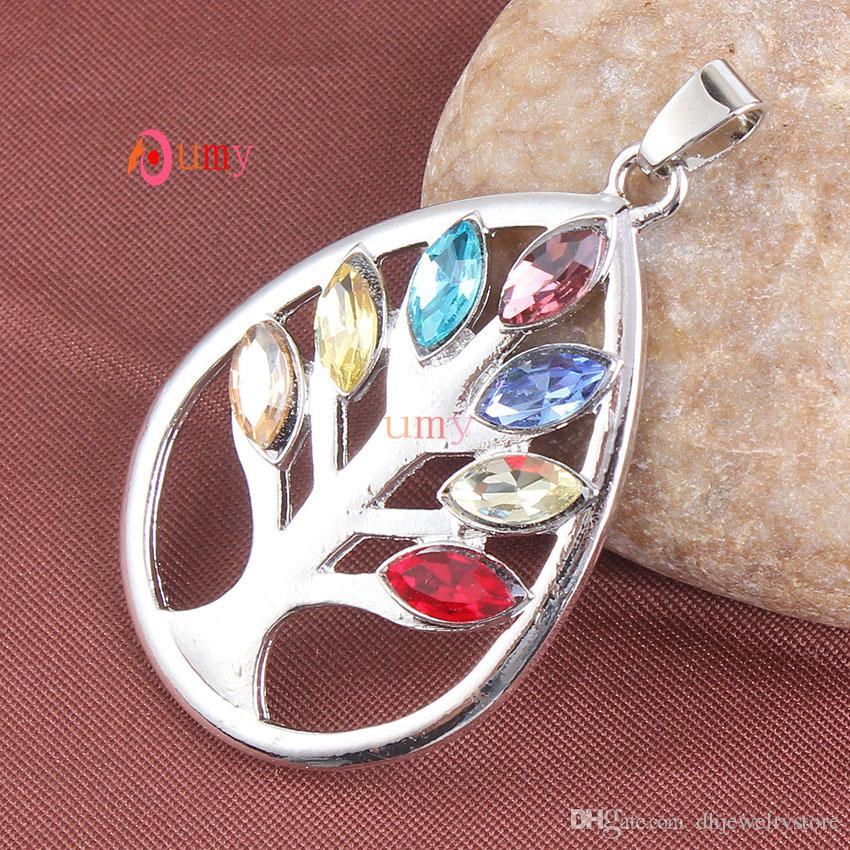 Venta al por mayor 10 unids plateado tallado medallón árbol de la vida embutido 7 cuentas de piedra forma de gota de agua de cristal colgante de joyería de moda
