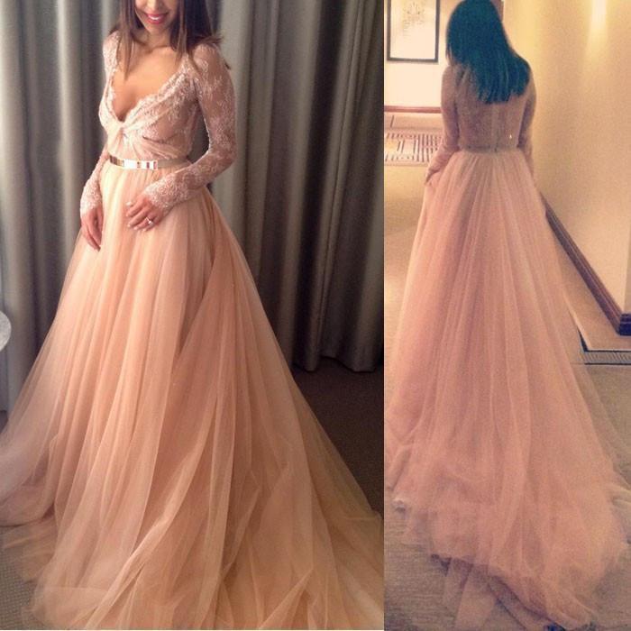 Freies Verschiffen Saudi-arabien Eine Linie Langarm Tiefem V-ausschnitt Kleid Formale Vestido De Formatura Prom Abendkleid Mädchen Party Für Schwangere